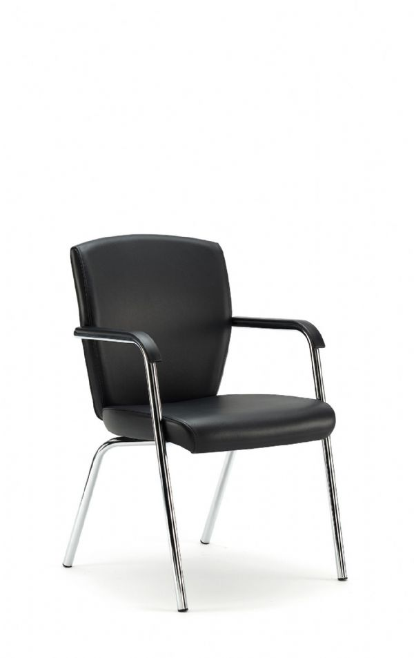 Pledge Key Meeting Room Chair With Four Leg Base, Fixed Arms With Fully Upholstered Back